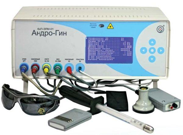 Современный мультифункциональный комплекс электро-магнитолазерной терапии КАП-ЭЛМ-01 «АндроГин» обеспечивает комбинированное воздействие лазера, магнитного поля, электрических токов, световых волн и используется для лечения воспалительных заболеваний мочеполовой сферы у мужчин и женщин
