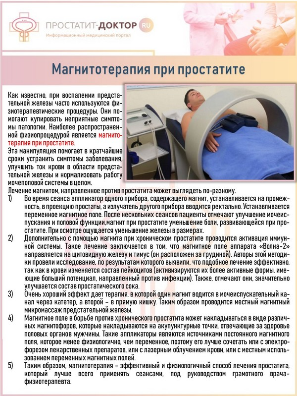 Простатиты у мужчин лечение магнитом бактерицидные препараты при простатите