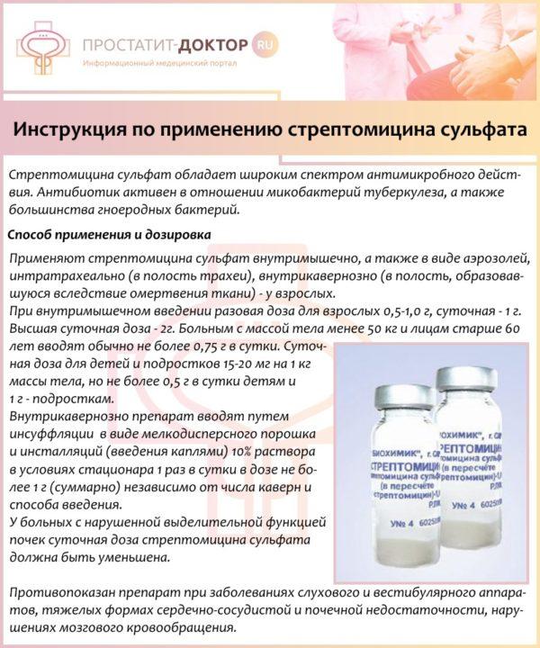 Инструкция по применению стрептомицина сульфата
